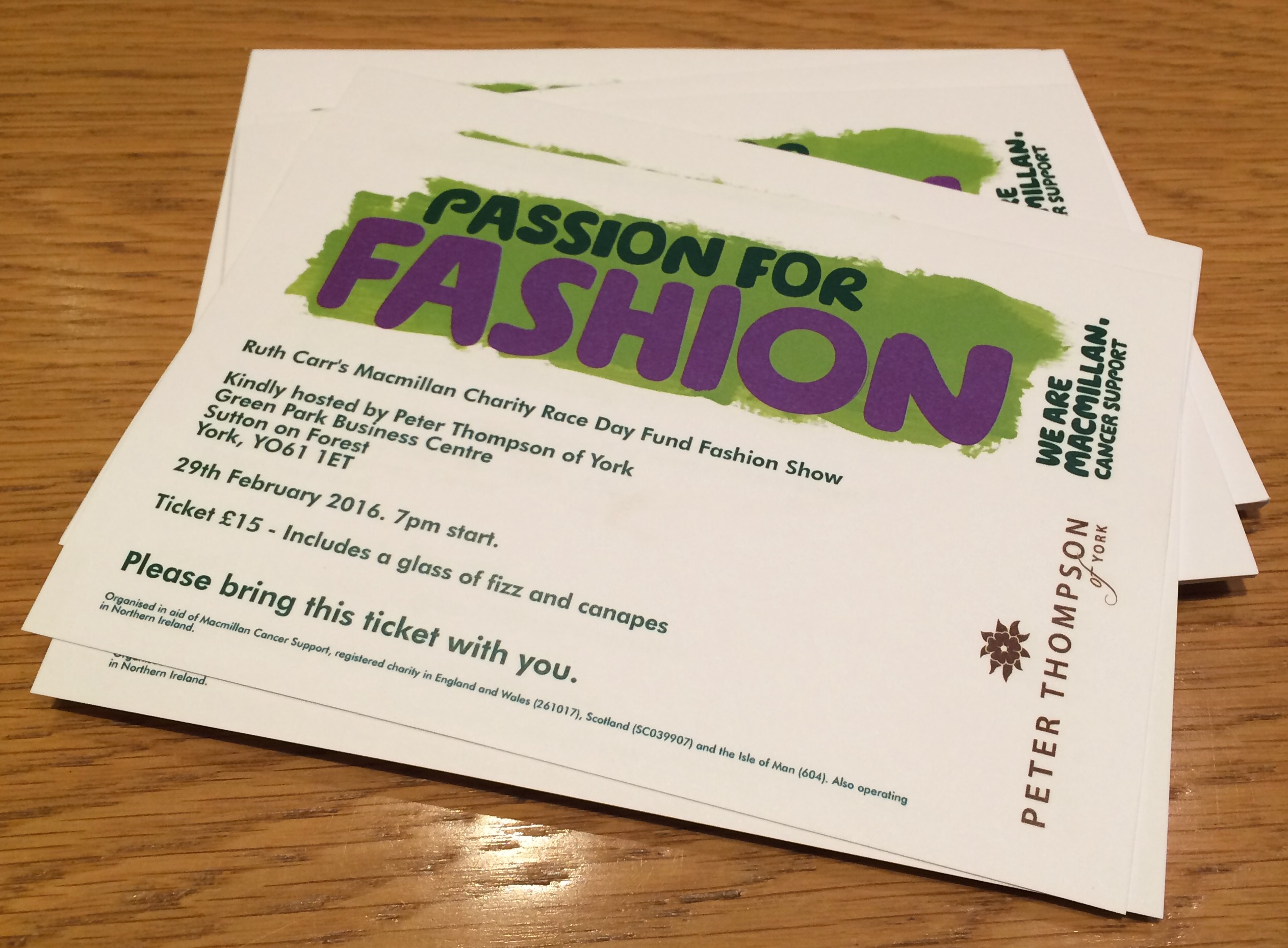 Fashion show tickets now available - 6th February 2016