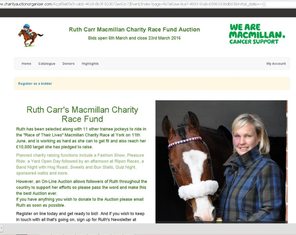 Ruth Carr Charity Auction Now Open - 6th March 2016