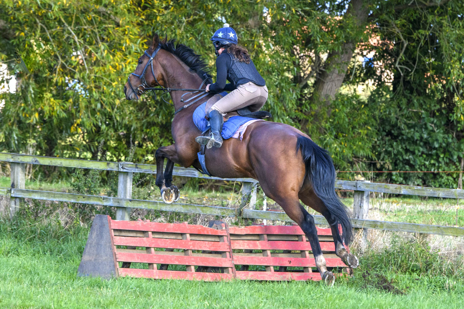 Be Perfect pops over the schooling jumps